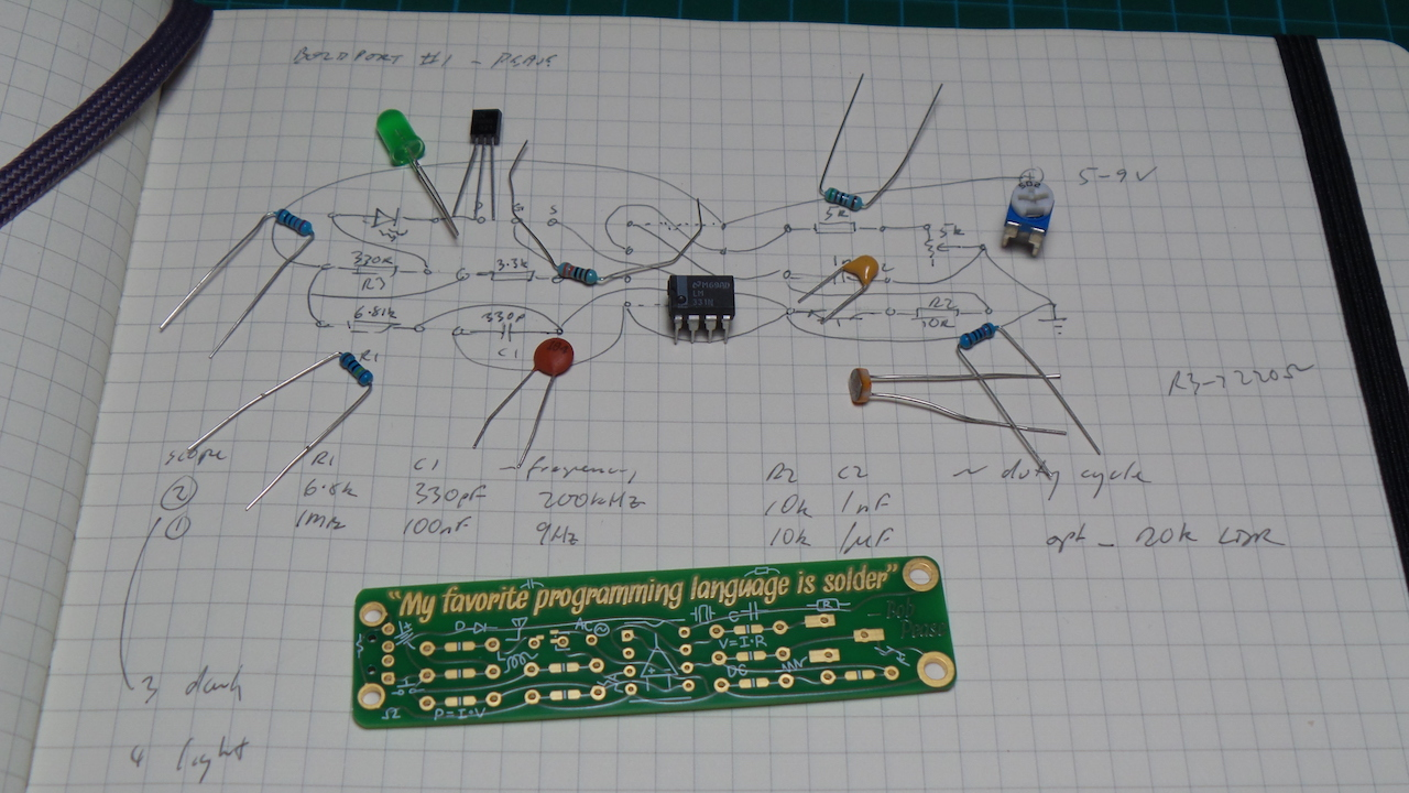 LEAP#256: dialing back the #BoldportClub Pease #1 to a low-frequency light-dependent blinky.